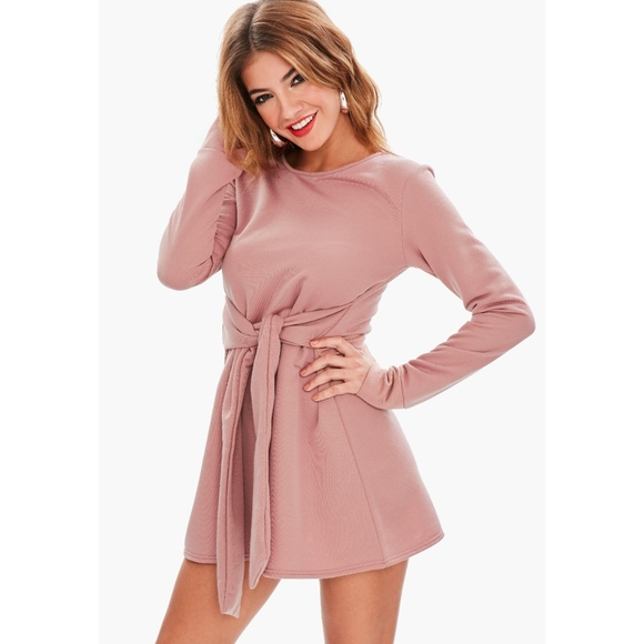 MISSGUIDED NWT Pink Tie Waist Sweater Dress Size 4 e0e6309b5